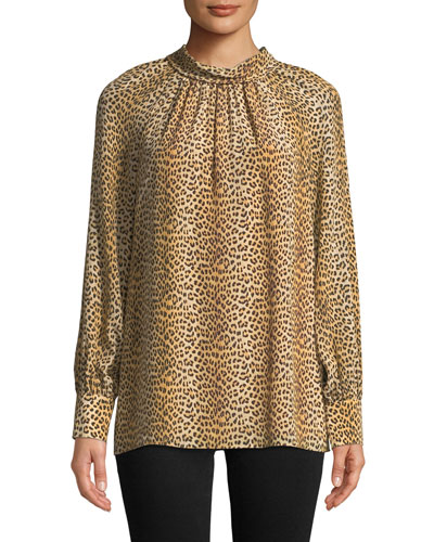 Leopard-Print Tie-Neck Silk Long-Sleeve Top