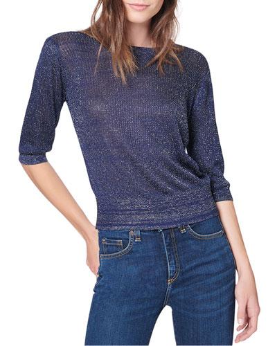 Uma Cropped 3/4-Sleeve Sweater