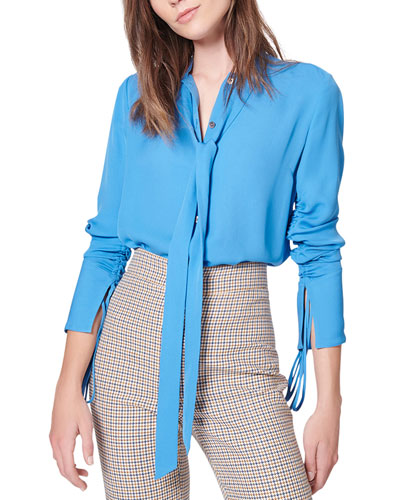 Remi Ruched Tie-Neck Silk Blouse