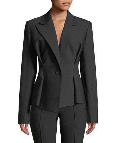 Cinched-Waist Single-Button Blazer