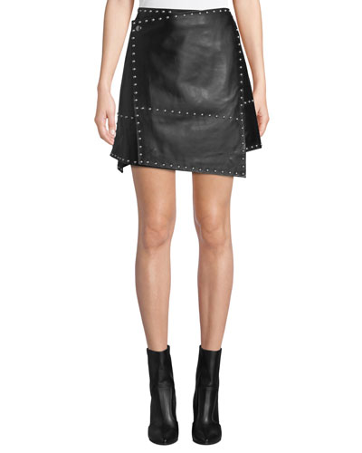 Studded Leather Wrap Mini Skirt
