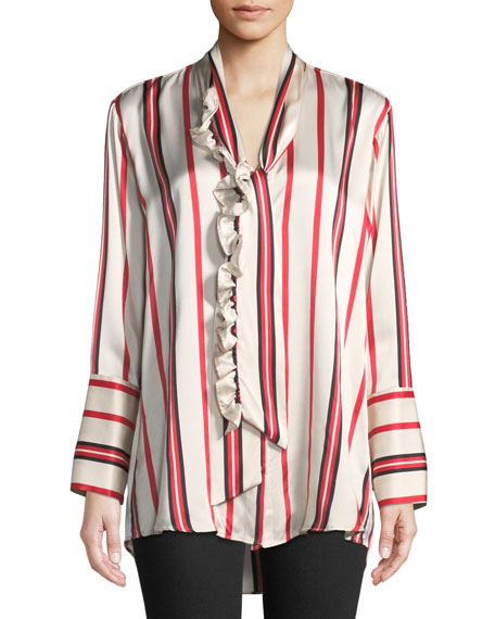 Let's Be Frank Striped Button-Front Silk Shirt
