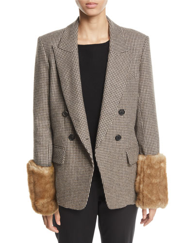 Fahey Houndstooth Dickey Jacket with Faux-Fur Cuffs