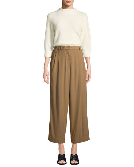 Cropped Straight-Leg Tailored Pants