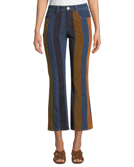 See by Chloe Striped High-Rise Flare-Leg Jeans 9a3e7fc5103