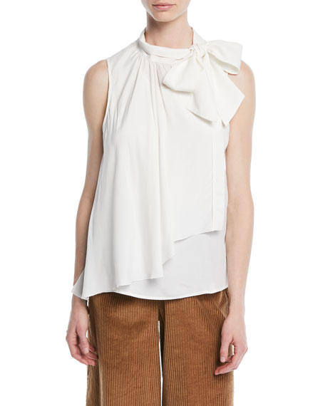 Draped Tie-Neck Ruffle Tank
