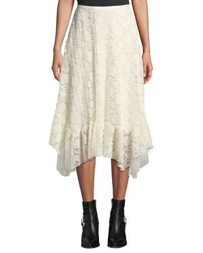 Ruffled Lace Asymmetrical Midi Skirt