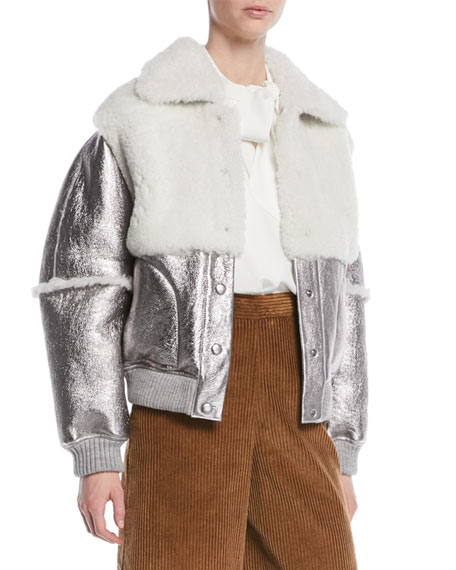 bfd9ee44 Metallic Leather Shearling Bomber Jacket