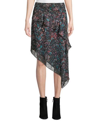 Blink Floral Tiered Asymmetrical Midi Skirt