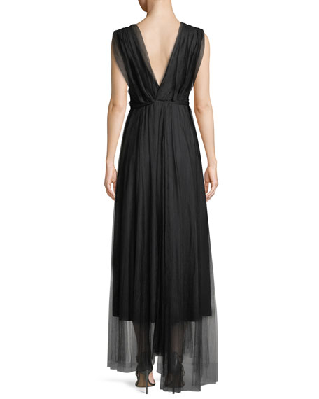 Vanda V-Neck Sleeveless Wrap-Belt Illusion Tulle Evening Gown