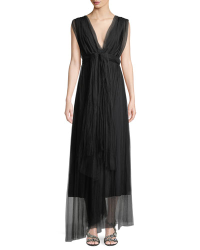 Vanda V-Neck Sleeveless Wrap-Belt Illusion Tulle Evening Gown