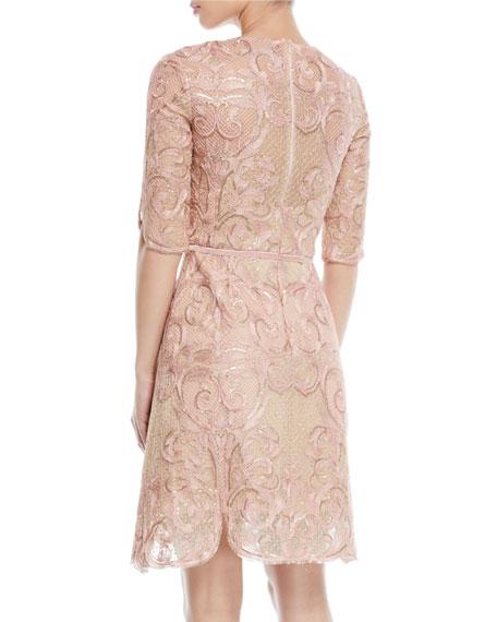 Metallic Filigree Embroidered Cocktail Dress w/ Velvet Trim