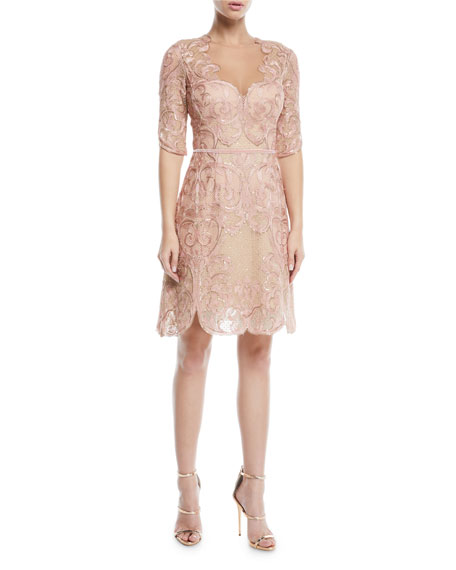 Marchesa Notte Metallic Filigree Embroidered Cocktail Dress w/