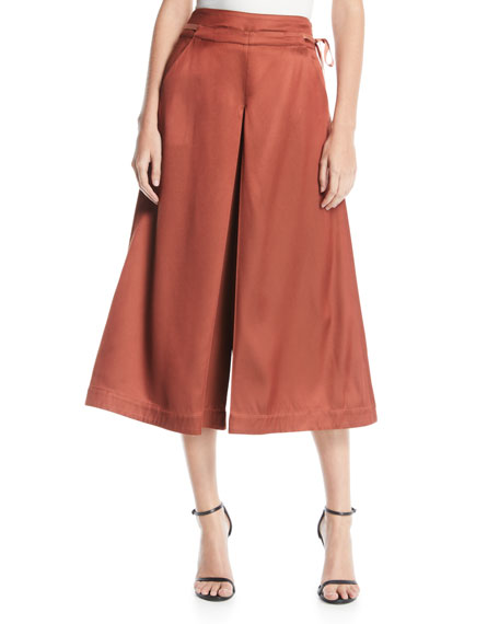 PALMER/HARDING Sundance High-Rise Twill Culotte Pants in Dark Orange