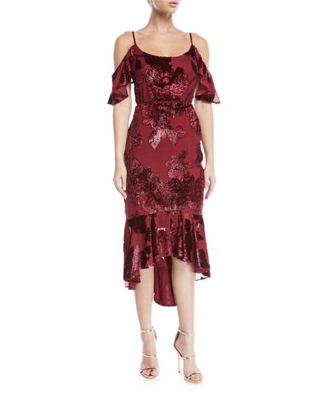 Marchesa Notte Cold-Shoulder Velvet Burnout Cocktail Dress with