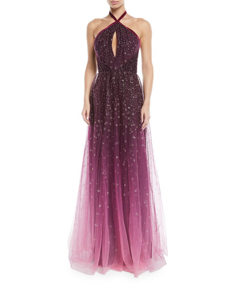 MARCHESA NOTTE OmbrÉ Glitter Tulle Halter Gown in Pink