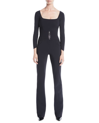 Huma Square-Neck Jumpsuit w/ Zip Front