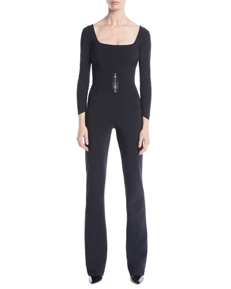 Image 1 of 1: Huma Square-Neck Jumpsuit w/ Zip Front