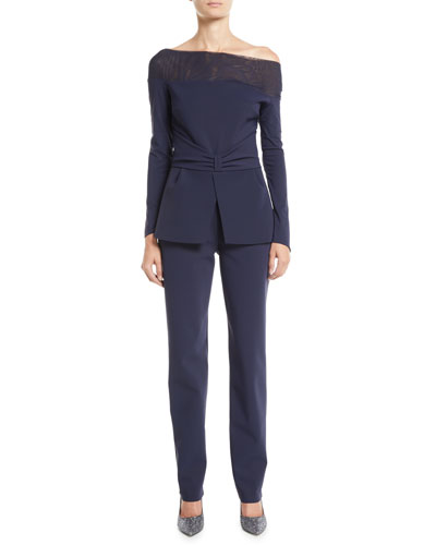 Ninella Long-Sleeve Jumpsuit w/ Mesh Neck