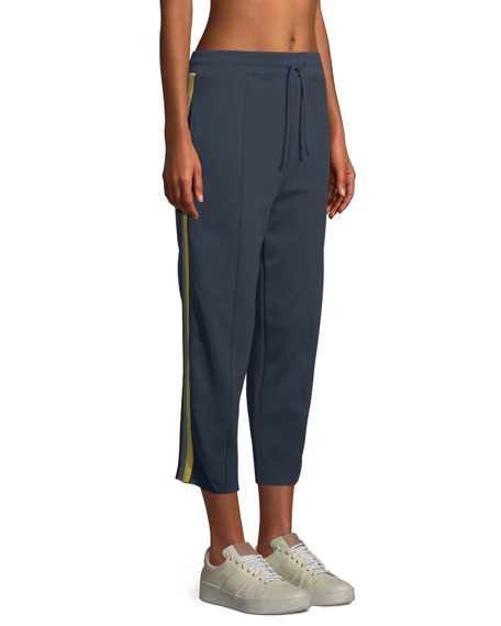 Cropped Side-Stripe Track Pants