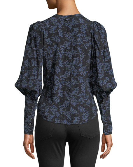 Clarke Floral Button-Back Silk Top