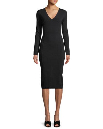 Williams V-Neck Long-Sleeve Midi Dress