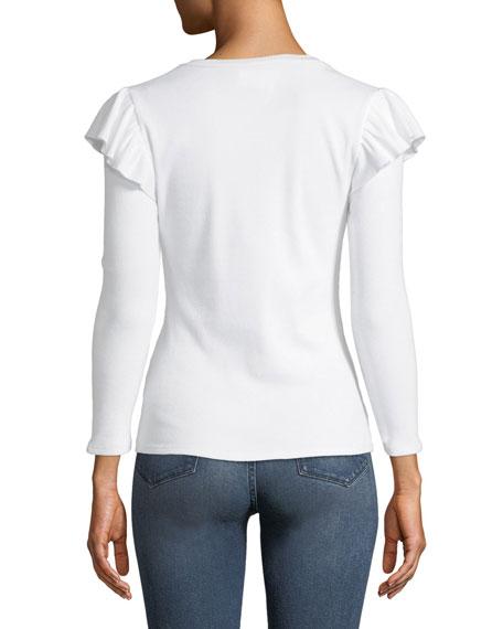 Selene Ribbed Long-Sleeve Ruffle Top