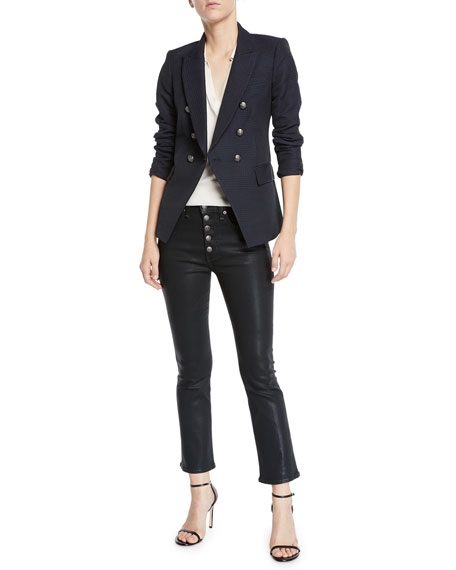 "Carolyn 10"" Rise Coated Kick Flare Jeans with Button Fly"