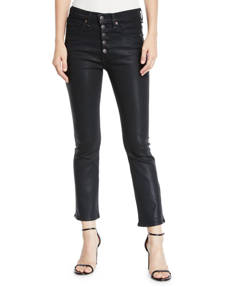 "Image 1 of 1: Carolyn 10"" Rise Coated Kick Flare Jeans with Button Fly"