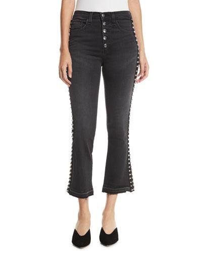 Carolyn Flare-Leg Jeans w/ Studded Tuxedo Stripes