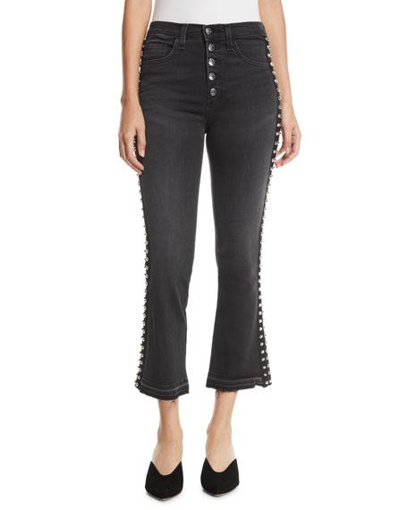 Carolyn Flare-Leg Jeans W/ Studded Tuxedo Stripes in Gray