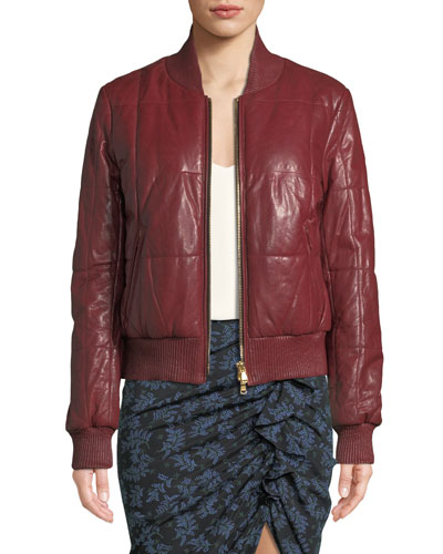 Malin Quilted Leather Zip-Front Bomber Jacket