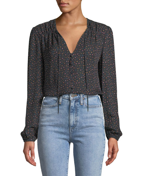 Arbor Floral Button-Front Silk Blouse
