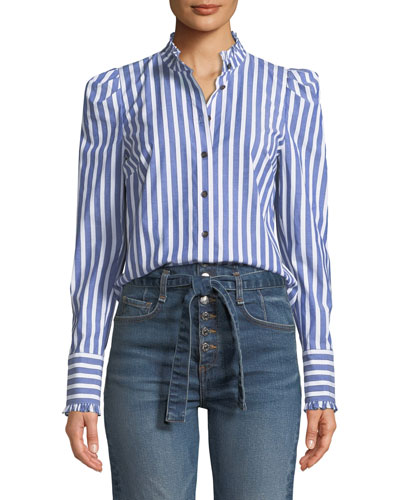 Holli Striped Strong-Shoulder Button-Front Shirt