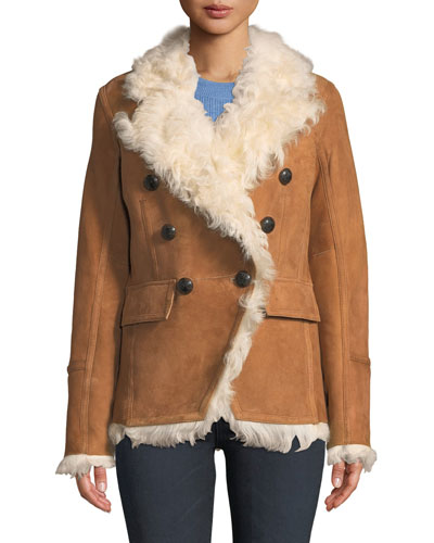Huntley Double-Breasted Shearling Blazer