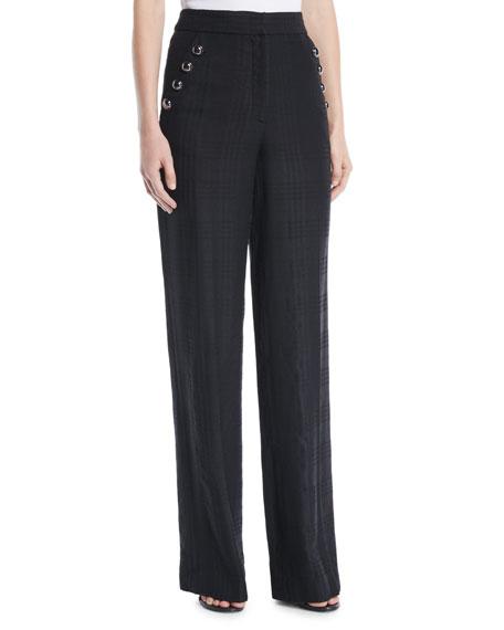 Tuli High-Rise Check Straight-Leg Pants