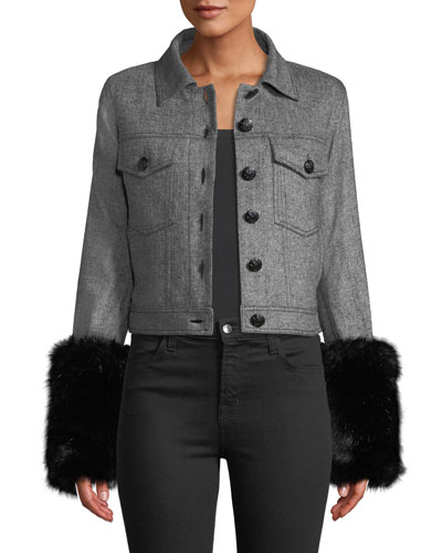 Burke Herringbone Jacket w/ Faux-Fur Cuffs