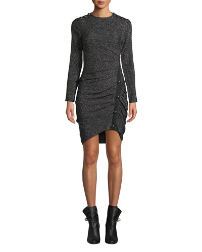 Ira Ruched Tweed Metallic Dress