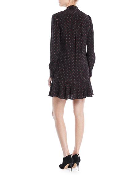 Linley Tie-Neck Long-Sleeve Dot-Print Silk Dress