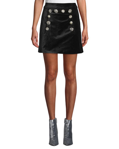 Ording Velvet Button-Front Short Skirt