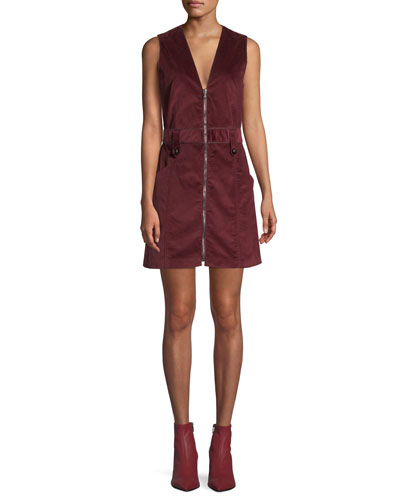 Orial Short Zip-Front Corduroy Dress