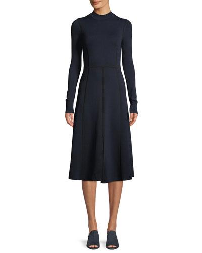 Beau Paneled Long-Sleeve Midi Dress