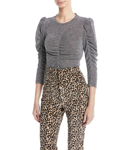 REBECCA TAYLOR Ruched Metallic 3/4-Sleeve Top in Silver