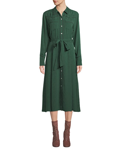 Spur Silk Jacquard Long-Sleeve Shirtdress