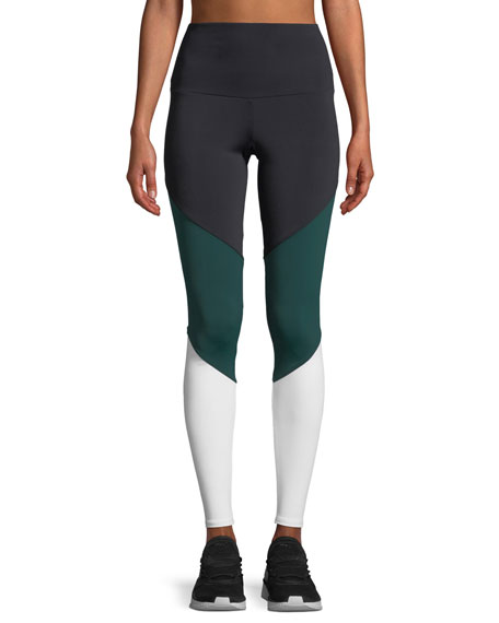 ONZIE HIGH-RISE COLORBLOCK TRACK PERFORMANCE LEGGINGS