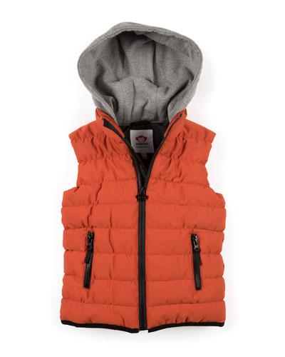 Apex Contrast-Hood Puffer Vest, Size 2-10