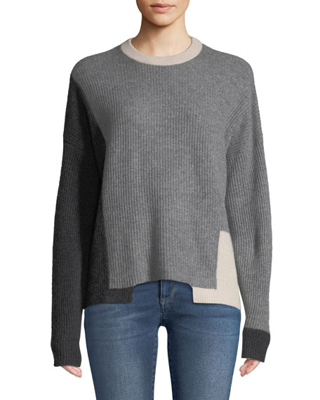 Akima Crewneck Colorblocked Ribbed Cashmere Pullover Sweater, Gray