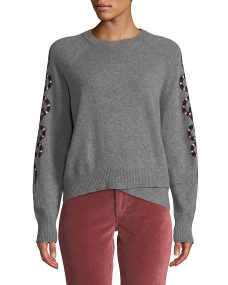 Serpent-Intarsia Sleeve Crewneck Cashmere Sweater, Gray Pattern