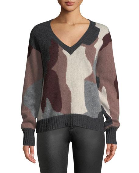 Cayenne V-Neck Camo Skull Cashmere Sweater, Gray Pattern