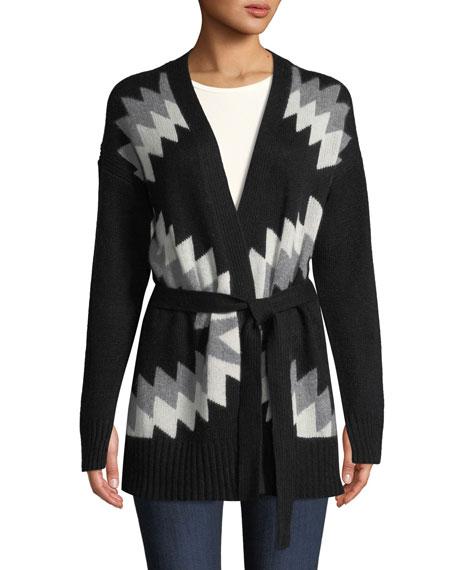 Moxie Belted Zigzag & Skull Intarsia Wool-Cashmere Cardigan, Black Pattern